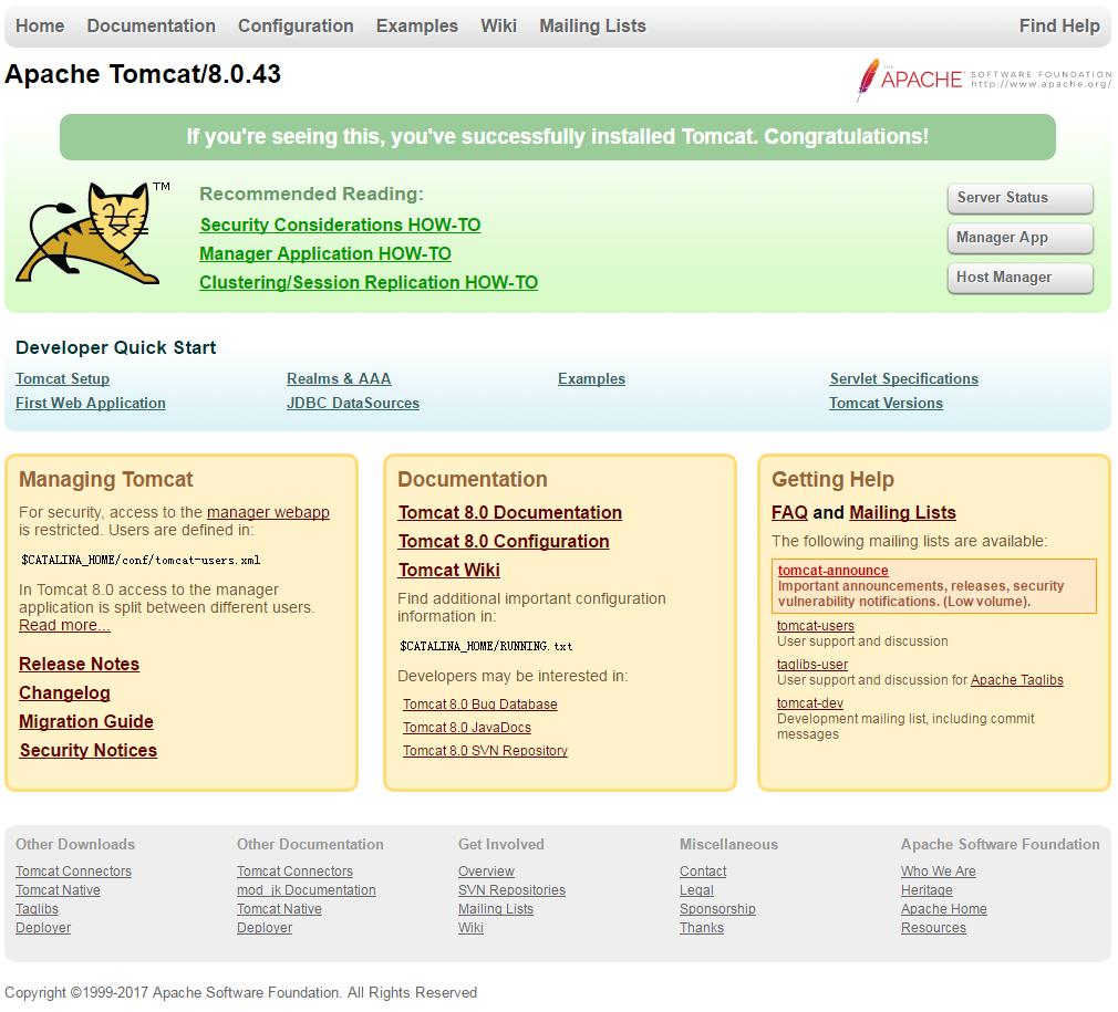 tomcat主页